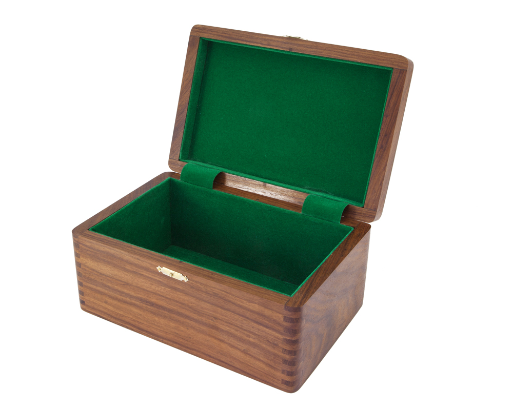 Polished Solid Wood Chess Case with Hinged Lid 9 by 4 Inches