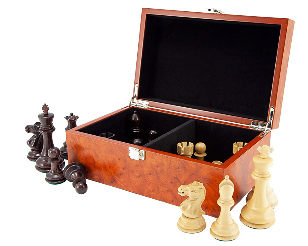Root Wood Burl Chess Piece Case with Hinged Lid Small