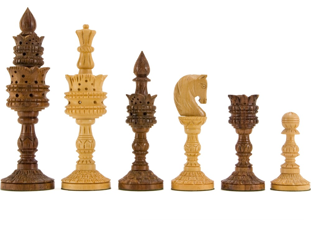 Lotus Flower Hand Carved Chess Pieces in Sheesham Wood