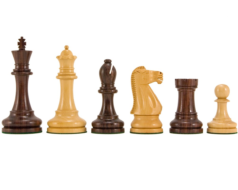 Broadbase Rosewood Staunton Chess Pieces 4 Inches