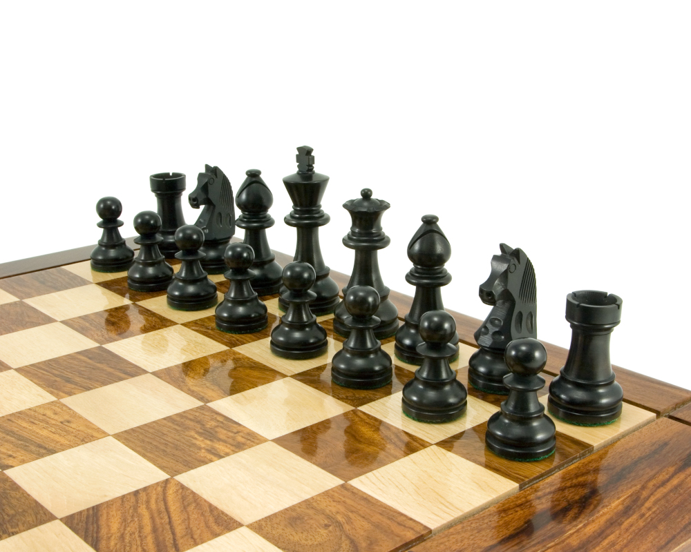 Down Head Knight Ebonised Staunton Chess Pieces 3.25 Inches