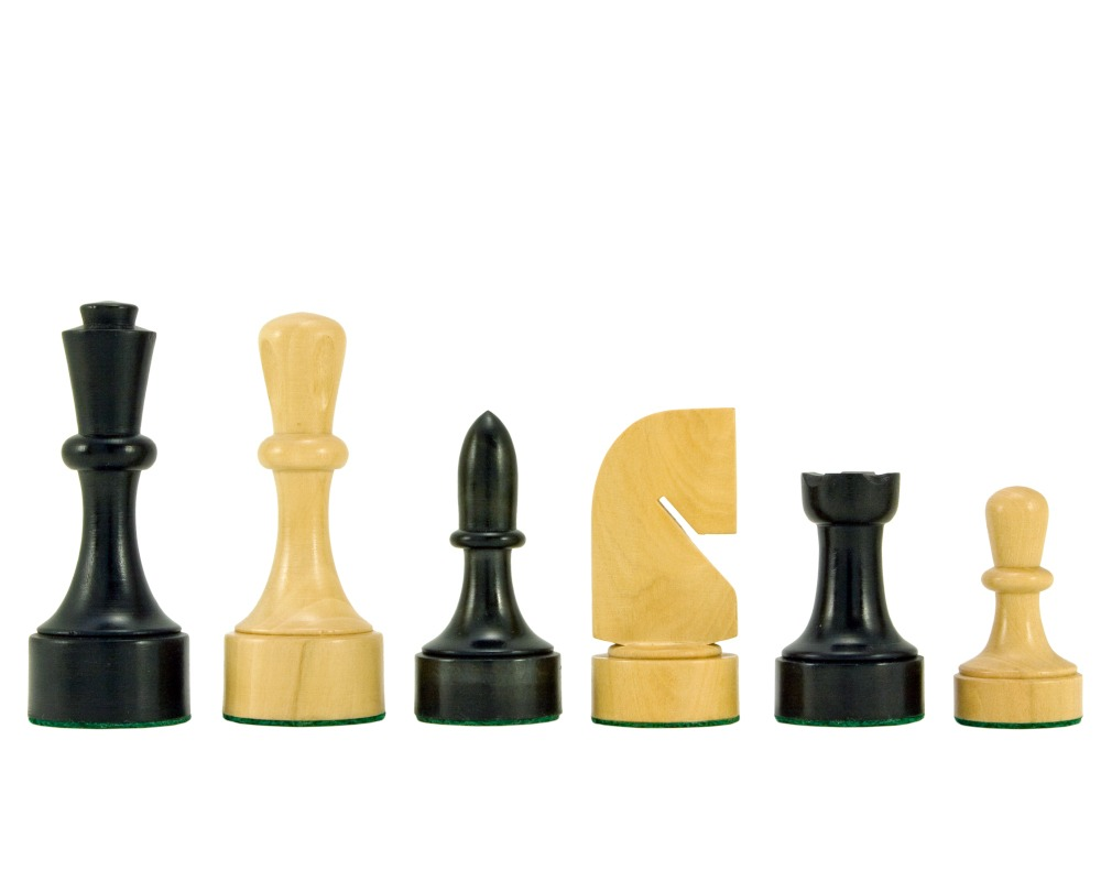 Contemporary Series Ebonised Chess Pieces 3.75 Inches