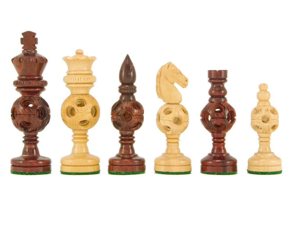 Concentric Ball Hand Carved Chess Pieces in Red Sandalwood