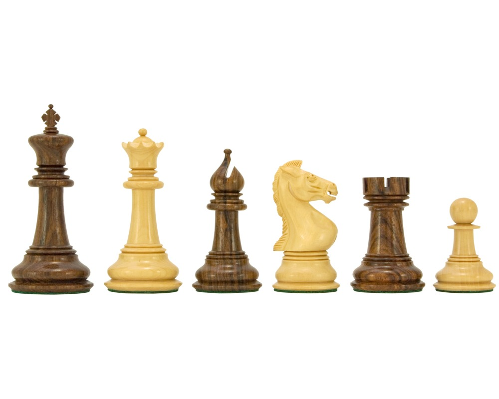 Madrid Series Sheesham and Boxwood Chessmen 4 Inches