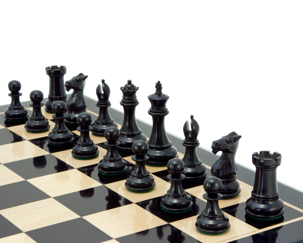 Windsor Series Ebony Staunton Chess Pieces 3 Inches