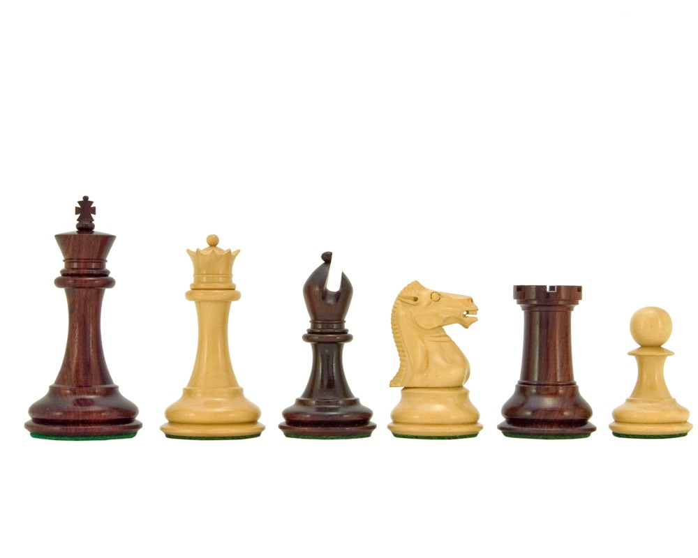 Sovereign Series Red Sandalwood and Boxwood Chessmen 3 Inches