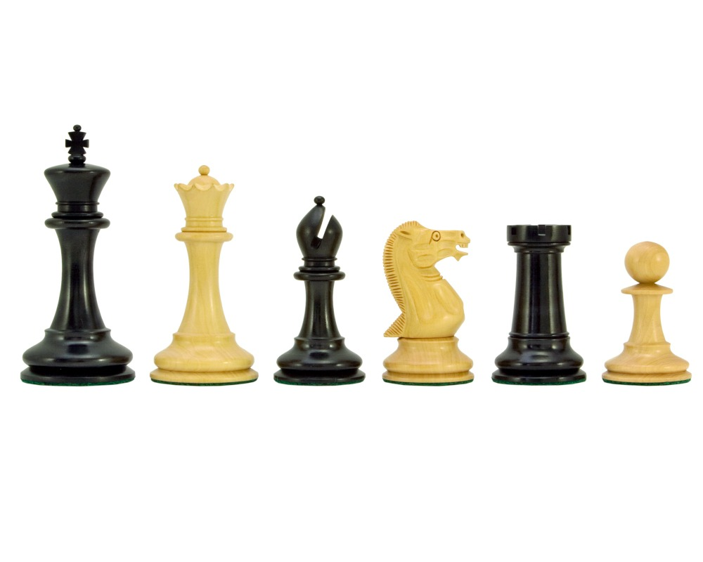 Old English Elite Series Ebony Staunton Chess Pieces 4 Inches