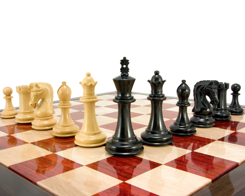 Canterbury Knight Series Luxury Ebony Chess Pieces 4.5 Inches