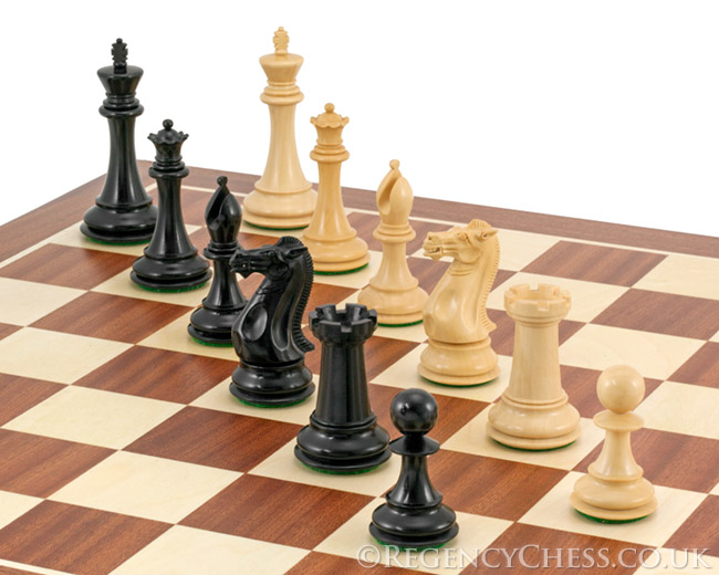 Holburne Series Ebony Staunton Chess Pieces 4 Inches