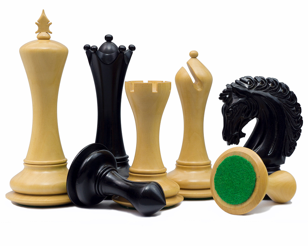 The Empire Knight Ebony Chessmen 4.5 inch