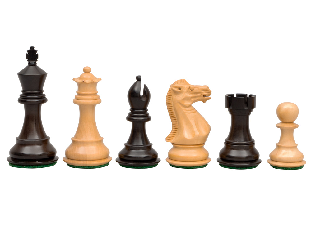 The Stallion Knight Ebonised Chess Pieces 3.5 inch