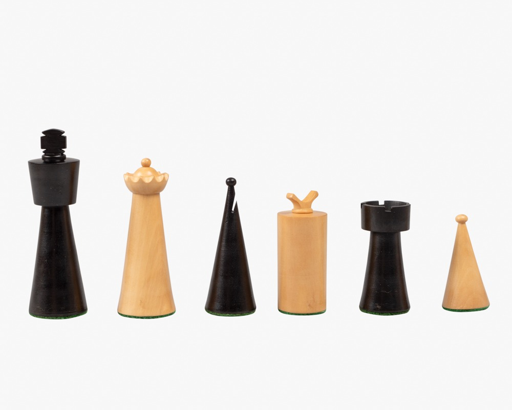 Art Deco Ebonised and Boxwood Chess Pieces 3.5 inch