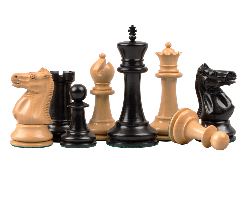 Reproduction Staunton Ebony Chessmen 1869 Model 4 inch