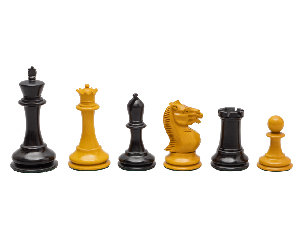 The Harrwitz Black and Antiqued Reproduction Chess Men 3.5 inch