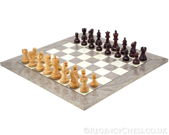 Atlantic Rosewood and Ash Burl Chess Set