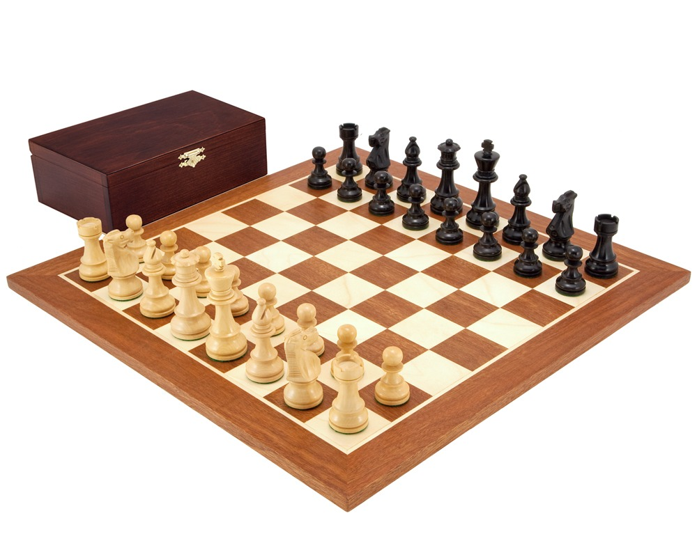 French Knight Black Mahogany Chess Set