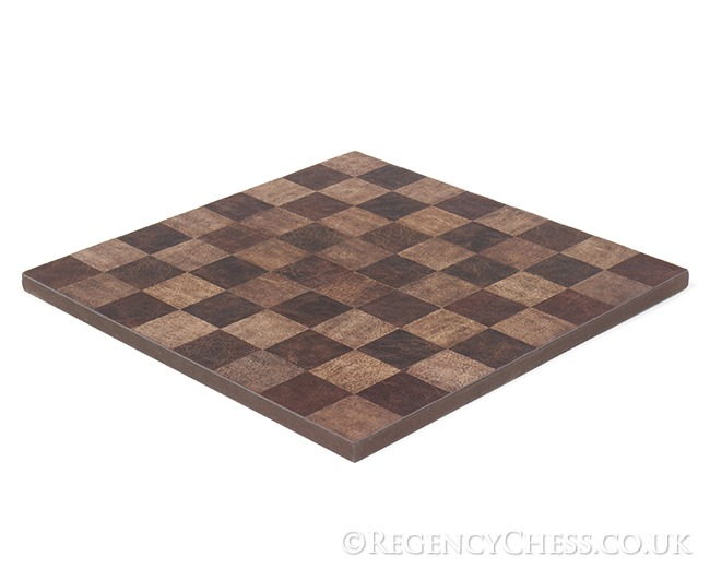 Brown & Red Italian Leather Chess Board Edge to Edge