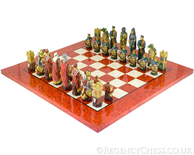 The Crusades Red and Maple Chess Set