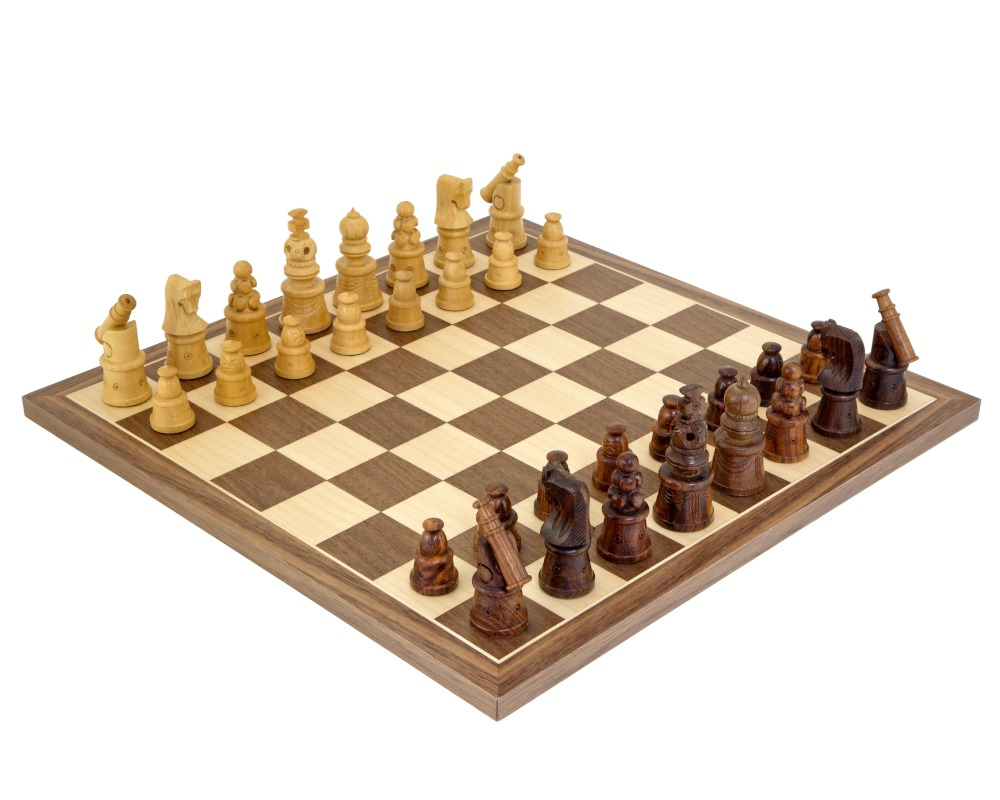 Cannon Sheesham and Walnut Chess Set
