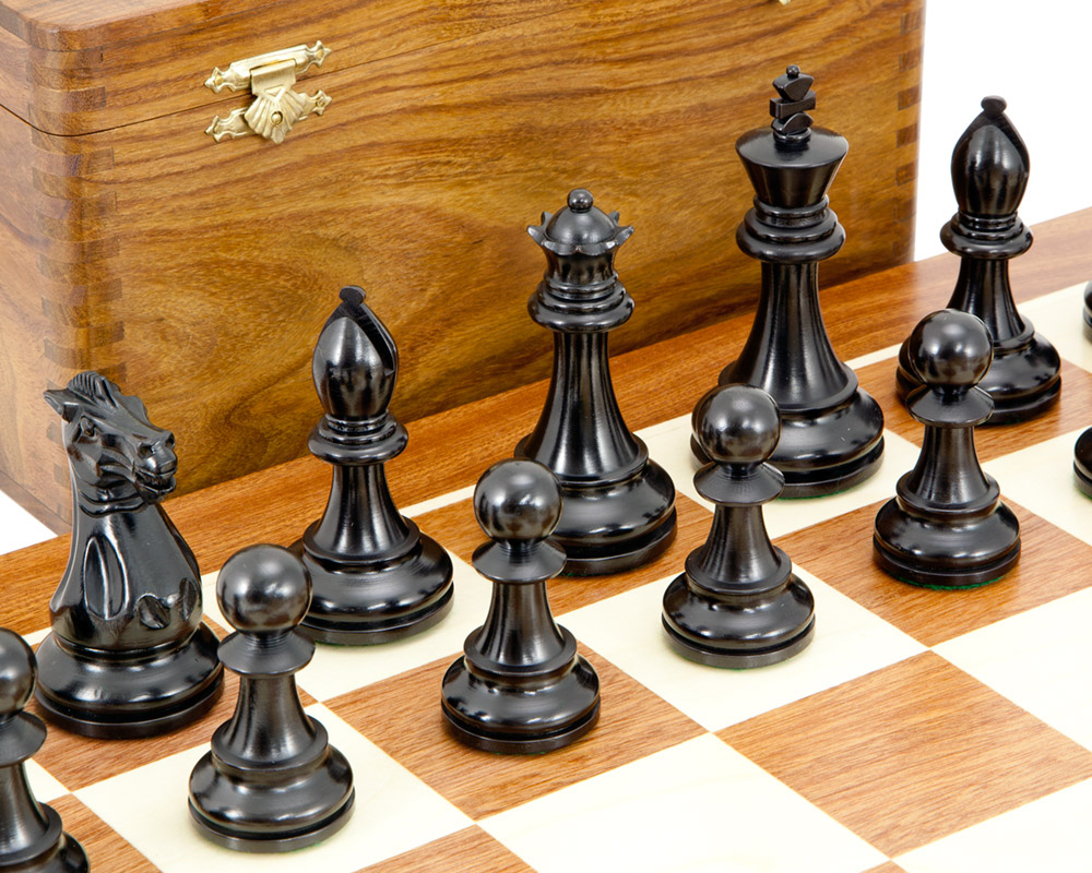 Competition Black and Sheesham Chess Set with Case