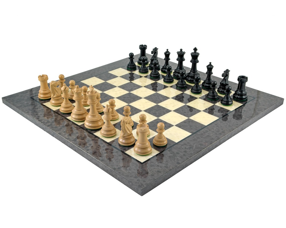 Cheltenham Ebony and Grey Briarwood Chess Set