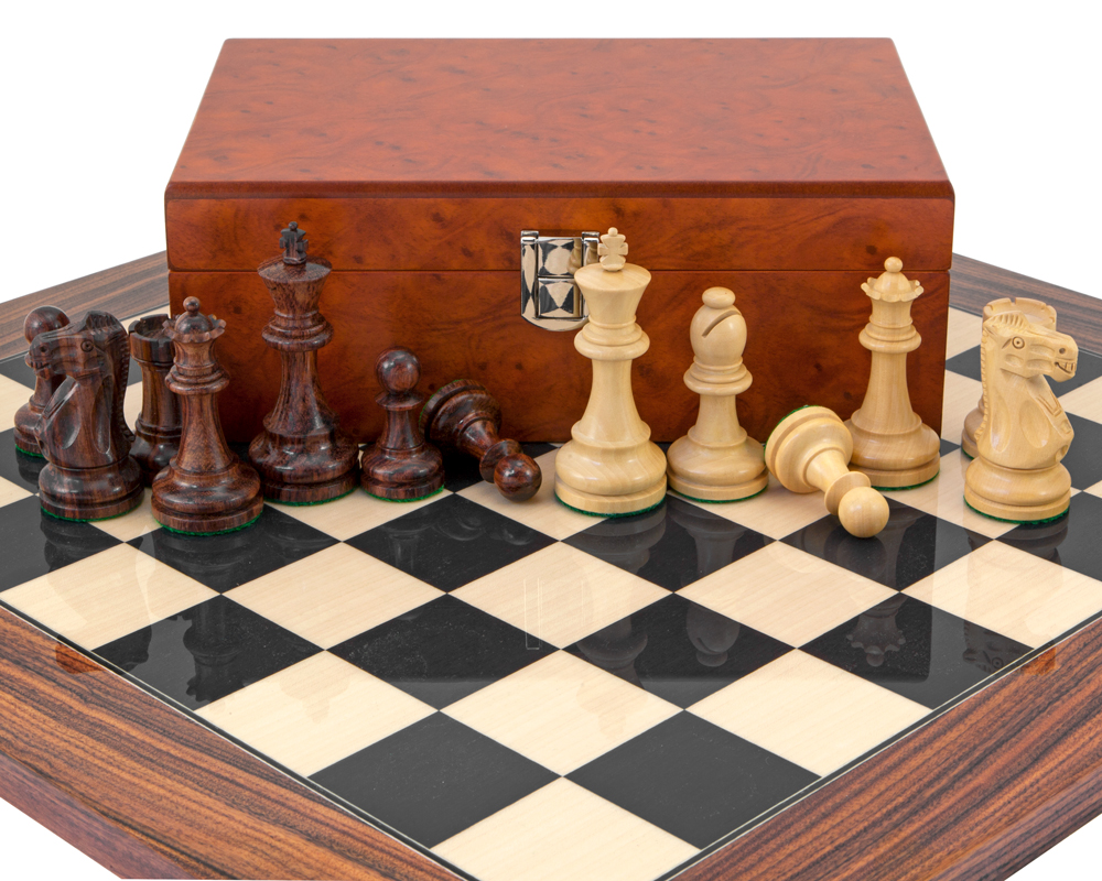 Supreme Rosewood Chess Set With Burl Wood Case Rcpb244