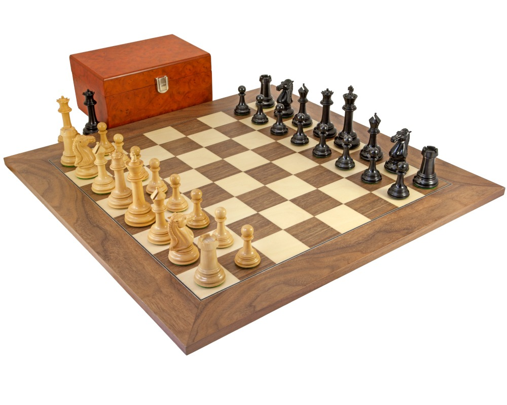 Parthenon Grand Ebony and Walnut Chess Set