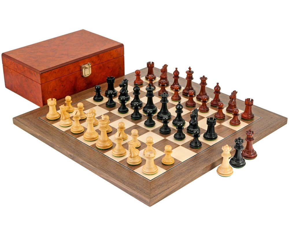 Attractive Madrid Tres Corone Ebony, Padouk And Walnut Chess Set