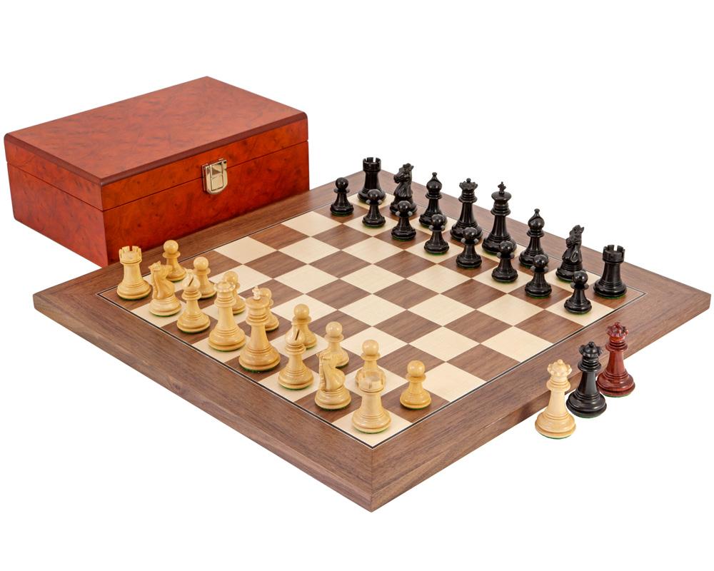 Madrid Tres Corone Ebony, Padouk And Walnut Chess Set