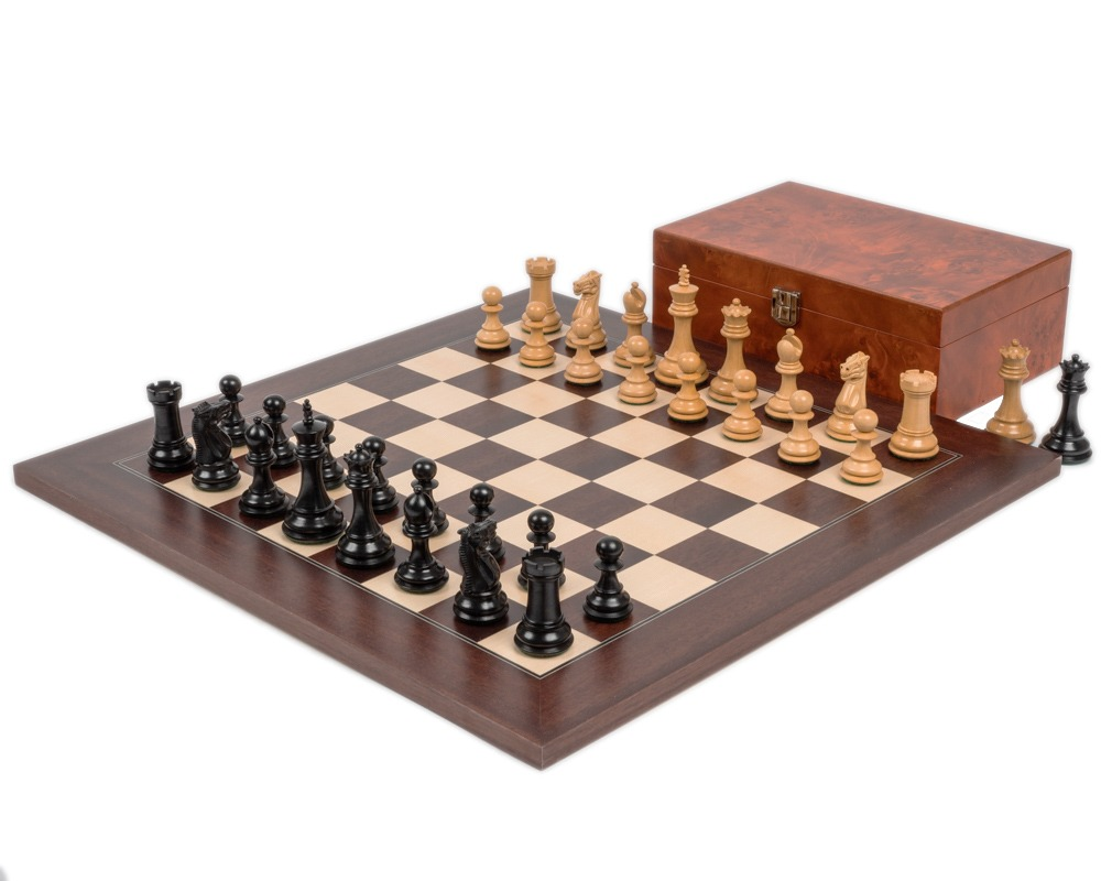 Windsor Ebony and Montgoy Palisander Chess Set