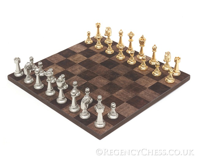 The Messina Gold and Silver leather Italian chess set
