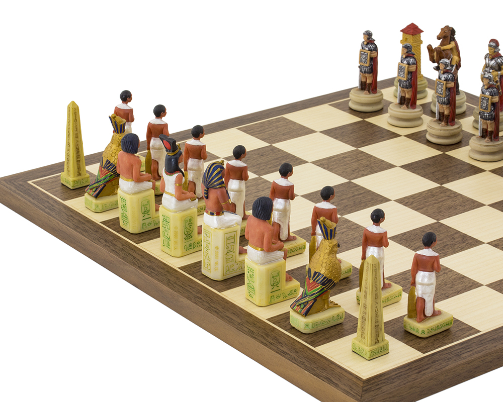 The Romans Vs Egyptians hand painted themed Chess set by Italfama
