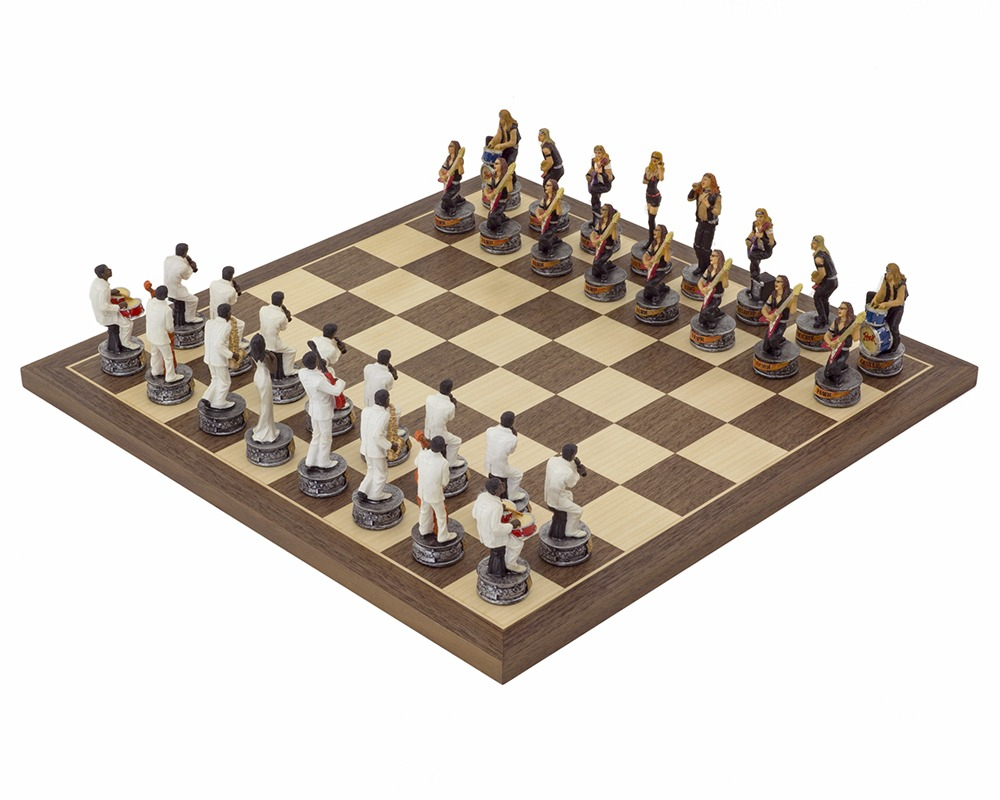 The Jazz Band Vs Rock Stars Hand painted themed Chess set by Italfama