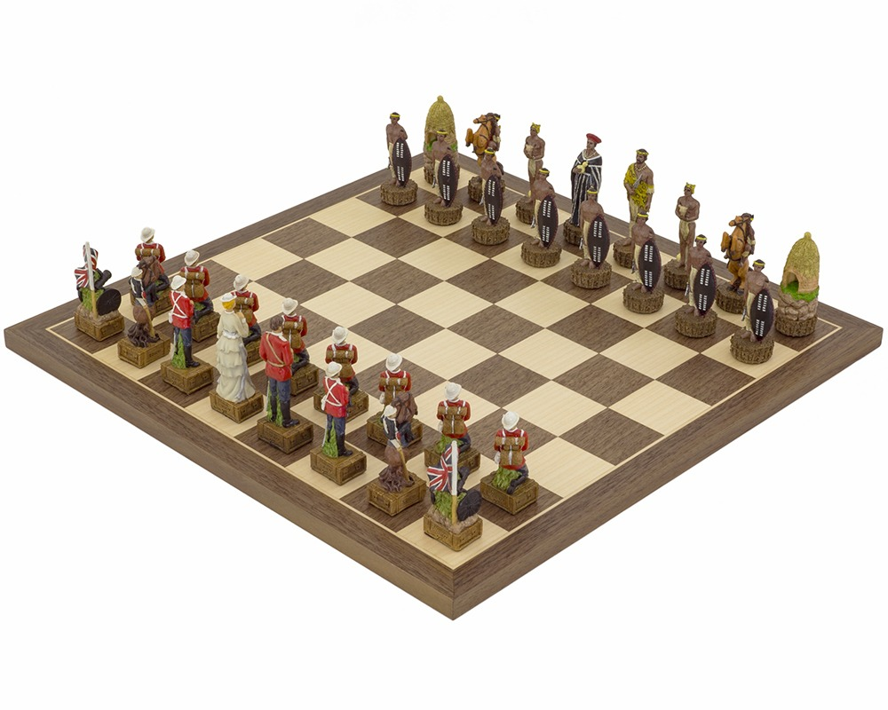 The British Vs Zulus Hand painted themed Chess set by Italfama