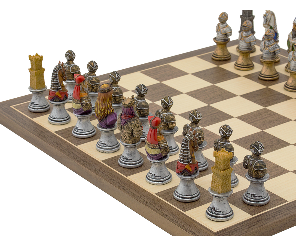 The Medieval Bust hand painted themed Chess set by Italfama