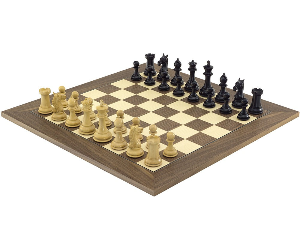 The Columbus Ebony and Walnut Chess Set