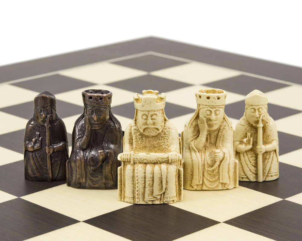 The Isle of Lewis and Wenge Mini Chess and Draughts Set