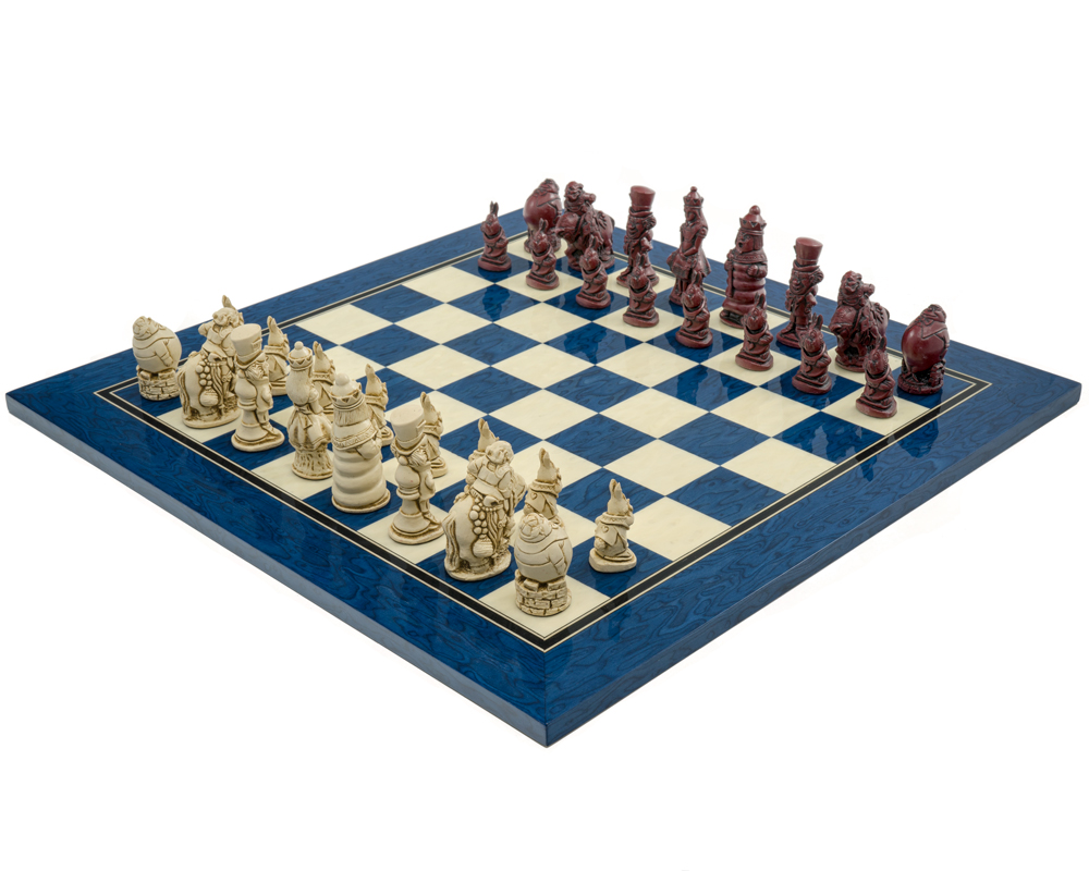 The Berkeley Chess Alice in Wonderland Cardinal Blue Chess Set