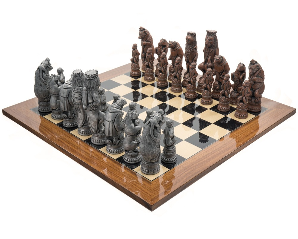 The Berkeley Chess Reynard the Fox Metal and Palisander Grand Chess Set