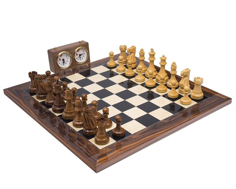 The Broadbase Club Staunton Teak Palisander Chess Set