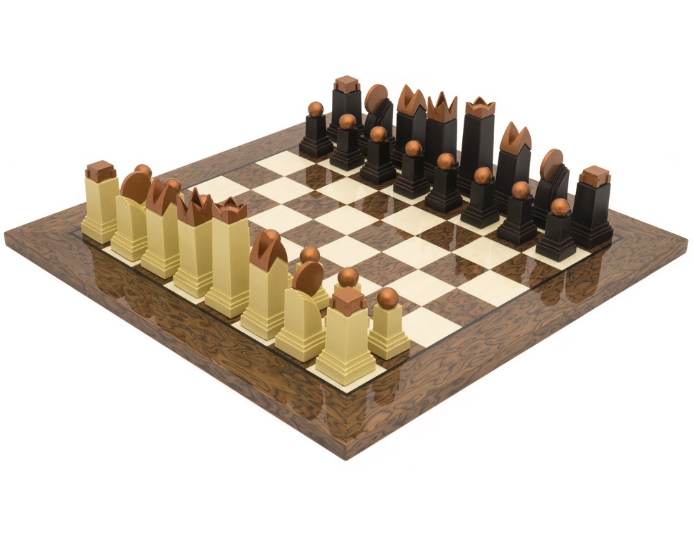 The Art Deco Cocoa Ash Burl Chess Set
