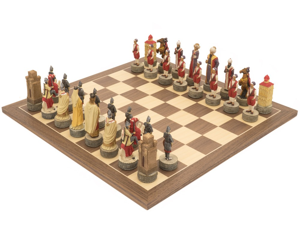 The Crusaders vs. Turkish Hand Painted Themed Chess Set by Italfama