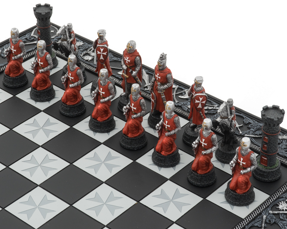 The Knights Templar Crusade Hand Painted Themed Chess Set by Italfama