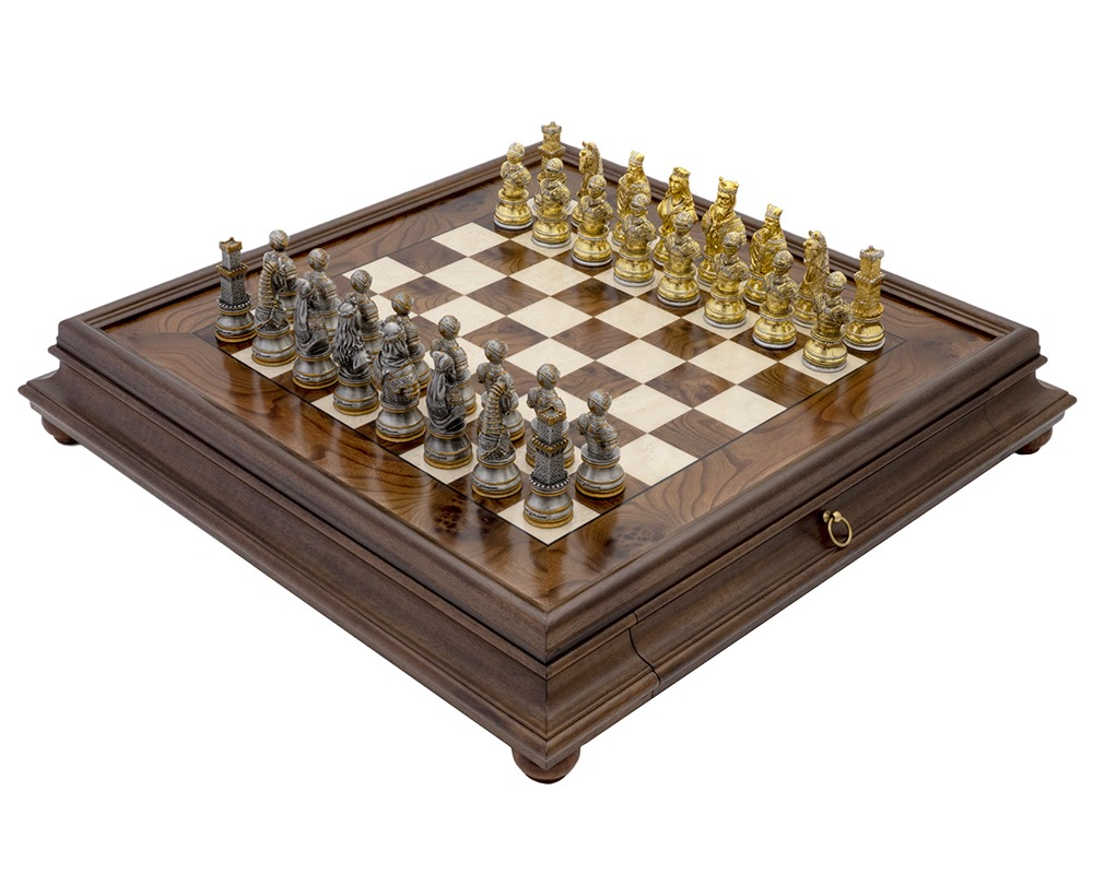 The Medieval Pewter and Briarwood Luxury Chess Cabinet Set