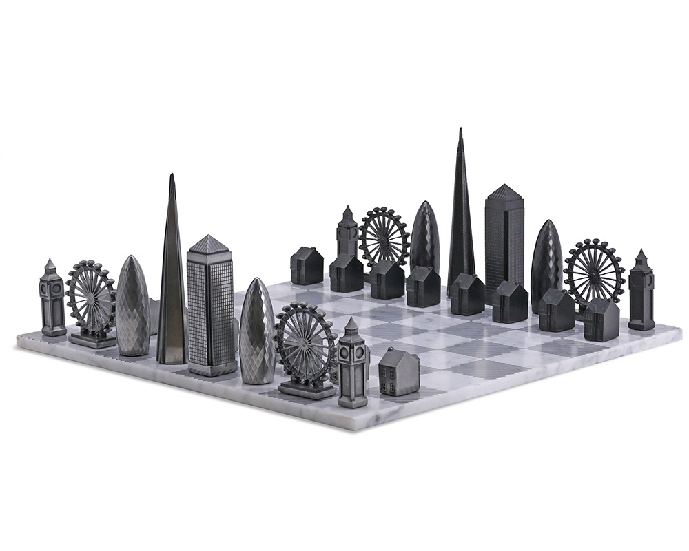 The London Skyline Metal and Marble Luxury Chess Set