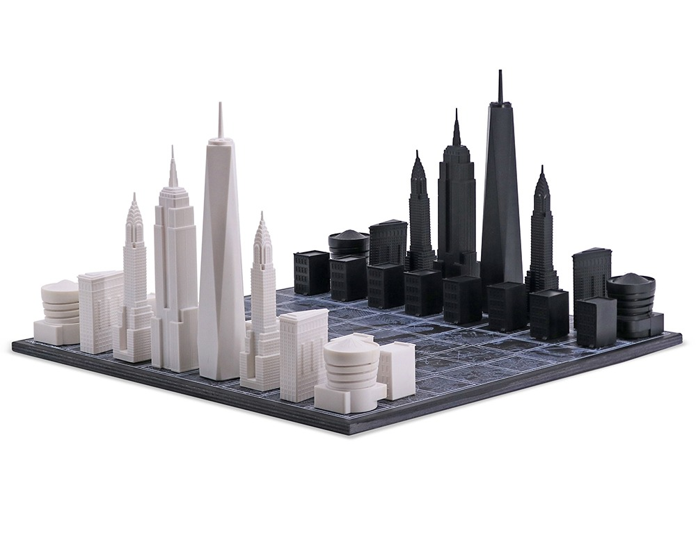 The New York Skyline and Map Themed Chess Set