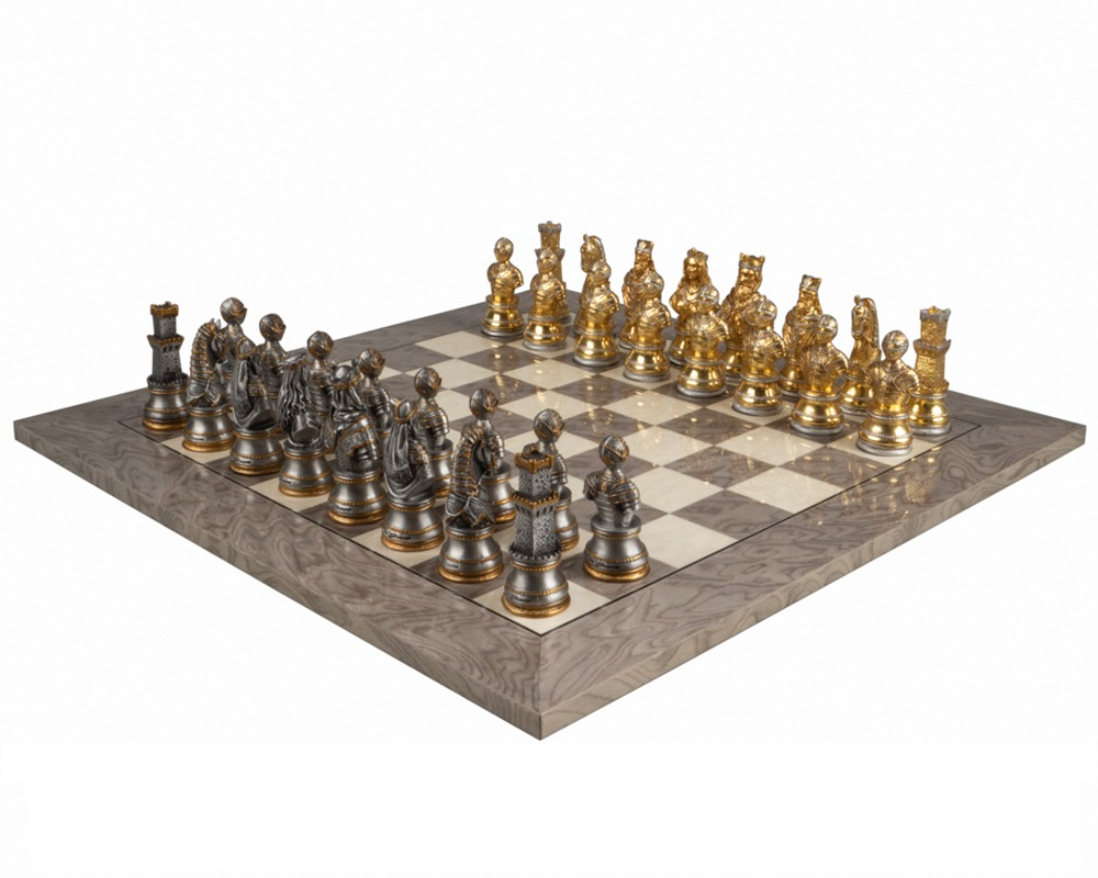 The Medieval and Ash Burl Luxury Chess Set
