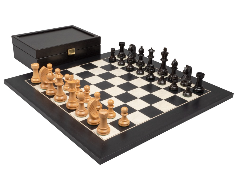 The Down Head Knight and Black Deluxe Chess Set with Case
