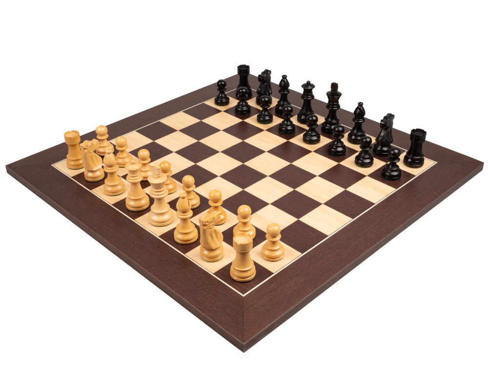 The French Knight Black and Wenge Chess Set