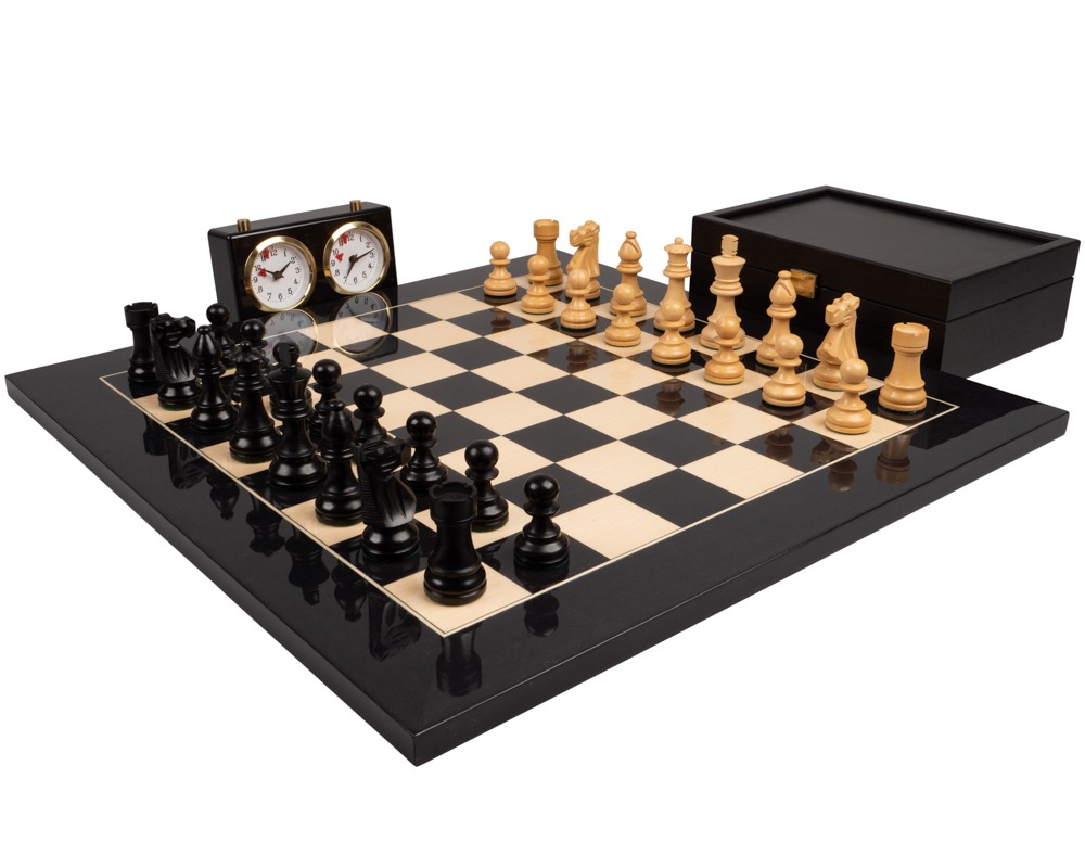 The French Knight Luxury Black Chess Set